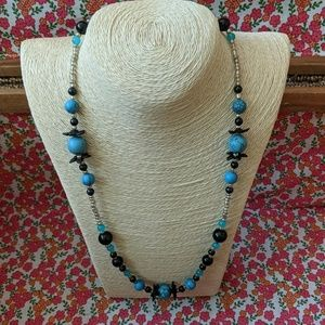 Black, turquoise and silver handbeaded necklace